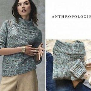 Moth Anthropologie Alpaca Marled Blue Green Sweater Sz XS